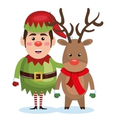 Elf christmas character icon vector