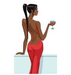 girl lady black hair standing back on the balcony vector image