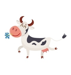 Spotted cow walking with eyes closed and daisy in vector
