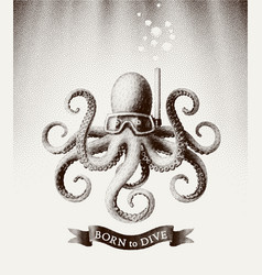 Octopus wearing a mask for diving under water vector
