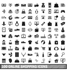 100 online shopping icons set simple style vector image