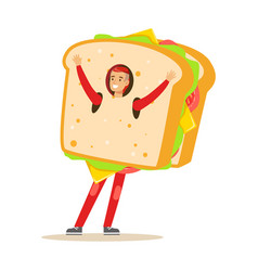 Man wearing sandwich costume fast food snack vector