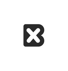 Monogram logo made from black letters b and x vector