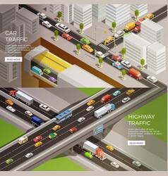 Urban motorway banners set vector
