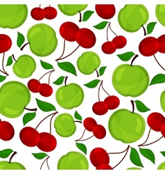 Seamless pattern of apple and cherrys vector