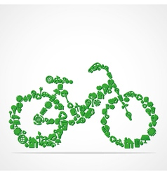 Green eco iconic bicycle vector