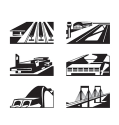 Various types of enormous buildings vector image