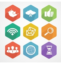 Set of social network icons flat silhouette vector image
