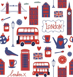 Seamless pattern with london style elements vector