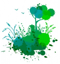 Ink landscape vector