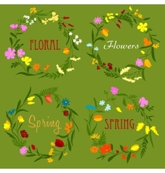 Floral border frames with wildflowers and herbs vector