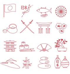 Simple japan theme outline icons set eps10 vector