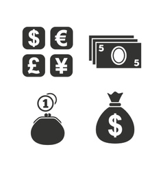 Currency exchange icon cash money bag wallet vector