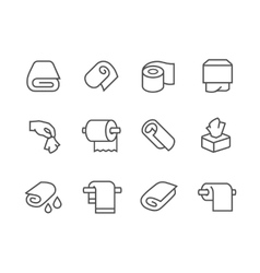 Lined towels and napkins icons vector