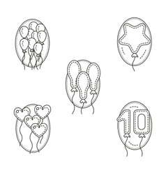 Different balloons flat line icons set vector