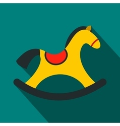 Children rocking horse flat icon vector