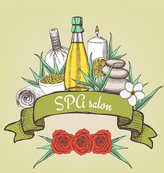 Spa salon poster with ribbon vector
