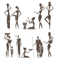 Silhouettes of native african men and women vector