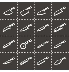 Kitchen knife icon set vector image