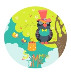 Cute owl sitting on a tree branch vector