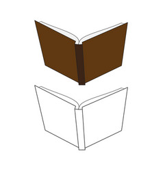 Back side open book hard cover vector