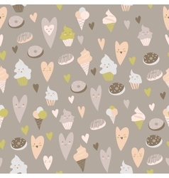 Beautiful seamless pattern of sweets on gray vector image vector image