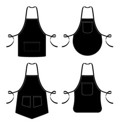 Black and white kitchen chef aprons isolated on vector