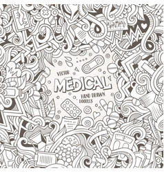 cartoon cute doodles medical frame vector image vector image