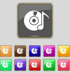 CD or DVD icon sign Set with eleven colored vector image vector image