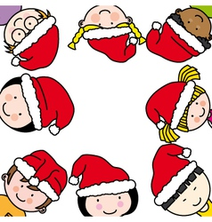 children card with santa claus hat vector image vector image