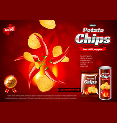 Chips ads hot chili pepper flavour background vector