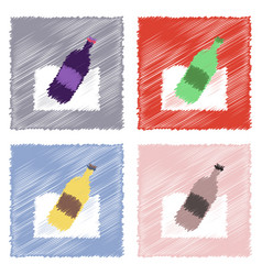 Collection of flat shading style icons bottle in vector