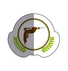 Color sticker circle with drill and olive branchs vector