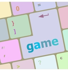 Computer keyboard with game key - technology vector image vector image