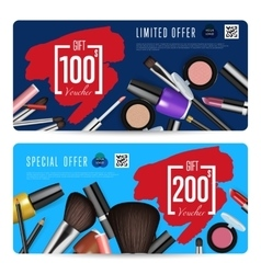 Cosmetics shop grand opening prepaid gift coupon vector