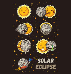 cute moon practice of yoga solar eclipse in vector image