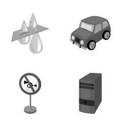 Filter car and other monochrome icon in cartoon vector