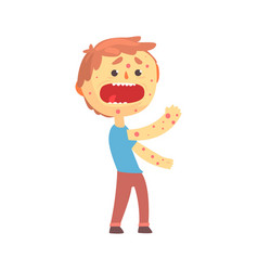 frightened boy character with a rash on his body vector image vector image