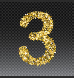 Gold glittering number three shining vector