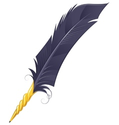 Golden quill pen vector