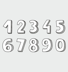 Hand drawn white numbers isolated on grey vector