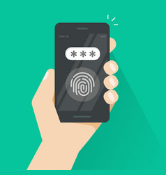 Hand with smartphone unlocked with fingerprint and vector