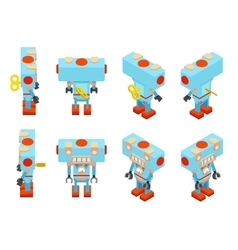Isometric blue toy robot vector