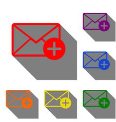 Mail sign with add mark set of red vector