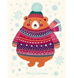 Merry christmas bear vector