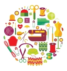 Needlework objects set vector
