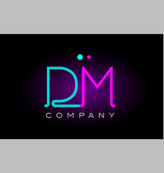 Neon lights alphabet dm d m letter logo icon vector