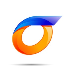 Number zero 0 logo orange and blue color with fast vector