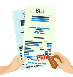 paid bill in human hands with rubber stamp vector image vector image