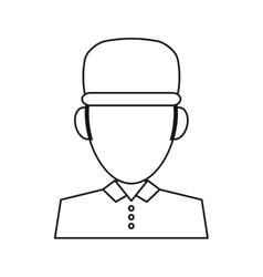 Portrait delivery pizza boy outline vector